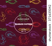 seamless pattern.sketch of crab ... | Shutterstock .eps vector #371635042