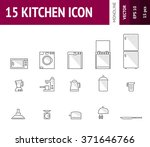 15 kitchens icon with dashed...