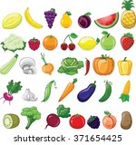 cartoon vegetables and fruits  | Shutterstock .eps vector #371654425