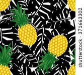 pineapple with black tropical... | Shutterstock .eps vector #371663302