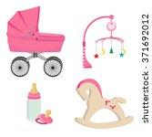 baby girl pink perambulator ... | Shutterstock .eps vector #371692012