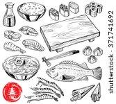 hand drawn japanese food set | Shutterstock .eps vector #371741692
