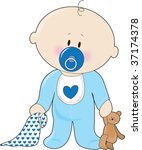 a baby boy with a soother... | Shutterstock .eps vector #37174378
