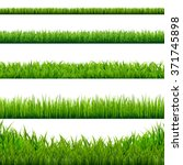 Big Grass Borders Set  Vector...