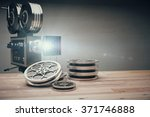 vintage old movie camera and... | Shutterstock . vector #371746888
