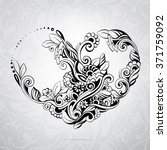 heart in a flower ornament | Shutterstock .eps vector #371759092
