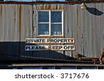 old shack marked private...   Shutterstock . vector #3717676