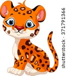 cute baby leopard cartoon... | Shutterstock .eps vector #371791366