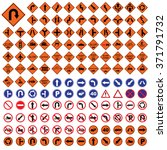 traffic sign orange red blue... | Shutterstock .eps vector #371791732
