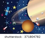 big planet saturn in the space... | Shutterstock .eps vector #371804782