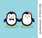 cute penguin couple. male... | Shutterstock .eps vector #371811238