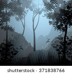 Cloud Forest Scene Vector...