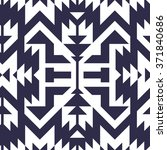 Seamless Vector Tribal Pattern for Textile Design. Stylish Monochrome Modern Art. Psychedelic Mix of Stripes and Triangles | Shutterstock vector #371840686