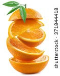 orange slices on white... | Shutterstock . vector #371844418