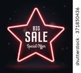 neon frame sale  vector star... | Shutterstock .eps vector #371850436