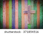 Wooden Cross On  Multi Painted...