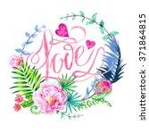 watercolor wreath for...   Shutterstock . vector #371864815