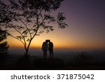 loving couple on background...   Shutterstock . vector #371875042