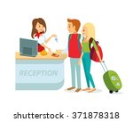 tourists at hotel reception | Shutterstock .eps vector #371878318