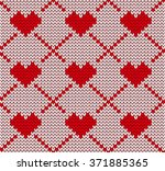 seamless knitting pattern with...   Shutterstock .eps vector #371885365