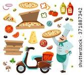 pizza cartoon set with...