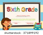 diploma template with little... | Shutterstock .eps vector #371899192