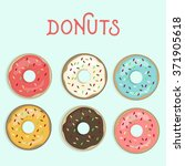 set of sweet colorful donuts | Shutterstock .eps vector #371905618