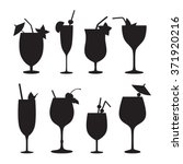 cocktail vector silhouettes. | Shutterstock .eps vector #371920216