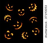 halloween pumpkin faces lit... | Shutterstock .eps vector #37193053