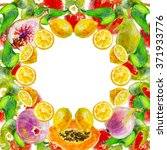 frame made of exotic fruits... | Shutterstock . vector #371933776