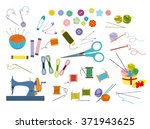 color set of objects for sewing ... | Shutterstock .eps vector #371943625