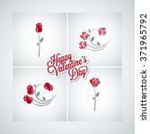 valentines day rose set design... | Shutterstock .eps vector #371965792