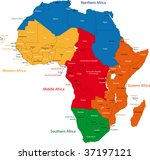 colorful regions of africa with ... | Shutterstock .eps vector #37197121