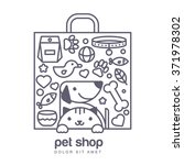 Stock vector outline illustration of cute cat and dog in shopping bag shape goods for animals vector icons set 371978302