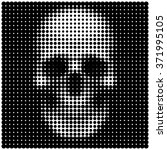 human skull in halftone dots... | Shutterstock .eps vector #371995105