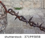 old chain hanging on an ancient ... | Shutterstock . vector #371995858
