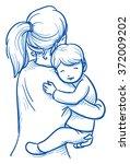 cute little boy being carried... | Shutterstock .eps vector #372009202