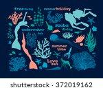 set of underwater creatures ...
