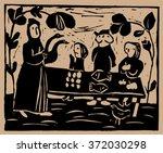 people in the village fair.   Shutterstock .eps vector #372030298