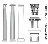 set of ancient greek columns.... | Shutterstock .eps vector #372034888