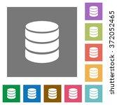 database flat icon set on color ...