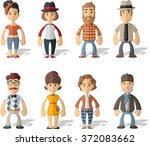 group of hipster people wearing ... | Shutterstock .eps vector #372083662