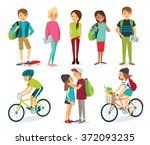 set of young style people ... | Shutterstock .eps vector #372093235