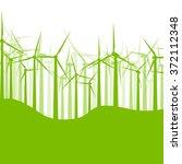 background wind turbines vector ... | Shutterstock .eps vector #372112348