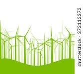 background wind turbines vector ... | Shutterstock .eps vector #372112372