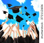 graduates hands throwing... | Shutterstock . vector #372112606