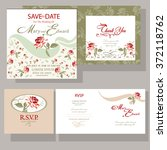 set of wedding cards with red... | Shutterstock .eps vector #372118762