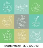vegetarian food labels. hand... | Shutterstock .eps vector #372122242