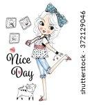 Stock vector cute girl 372129046