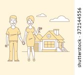 young couple and new home | Shutterstock .eps vector #372144556